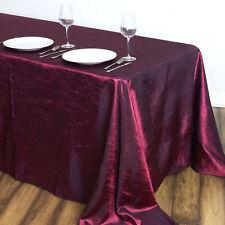 "Burgundy RECTANGLE 90x132"" Crinkled Taffeta TABLECLOTH Wedding Party Linens"