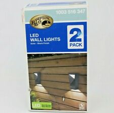 Black Integrated LED Wall Lantern Sconce Solar Wall Light (2-Pack)