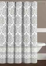 Grey Taupe White Canvas Fabric Shower Curtain Floral Damask Geometric