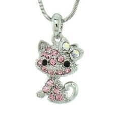 Cat Pet Kitten Made With Swarovski Crystal Pink Kitty Pendant Necklace Animal