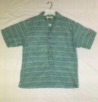 Tommy Bahama Men's Size Medium 100% Silk Striped Button Down Short Sleeve Shirt