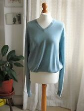 Uniqlo Women's Sweater Top - Light Blue Large Size - 100% wool - with small hole
