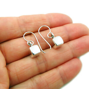 Square Cube 925 Sterling Silver Drop Earrings Gift Boxed