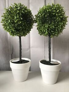 """Pair Of Small Decorative Boxwood topiary tree, 16""""/40 cm, Artificial buxus tree"""