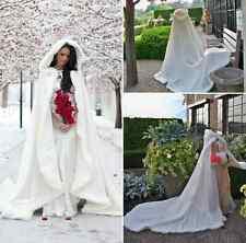 TUTU Long Warm White Ivory Bridal Winter Wedding Cloak Cape Faux Fur Hood Jacket