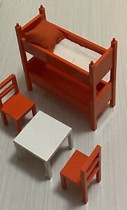 Ikea Dollhouse Miniature Furniture Toys Bunk Beds Small Table With 2 Chairs