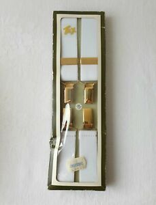 Mens Boxed Vintage White Tex Braces With Gold Clasps - 44""