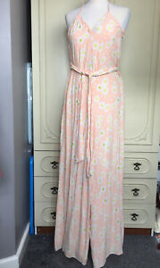 Zara Peach Floral Daisy Wide Leg Jumpsuit Size Small Sleeveless Baggy New Tags