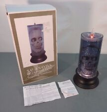 Midwest Seasons Of Cannon Falls Skull Glitter Flicker Electric Candle Halloween