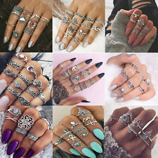 Elegant Boho Punk Vintage Middle Finger Rings Set Knuckle Band Beach Jewelry NEW