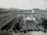 View of the Royal Palace Paris France gardens c.1850 old antique print