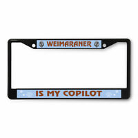 License Plate Frame Vinyl Insert Weimaraner My Copilot Pawprint Dog Head Pets