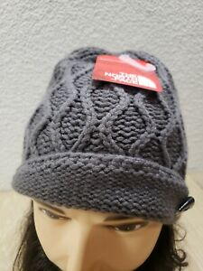 Women's The North Face Side Cable Beanie TNF Gray Rabbit Grey Cap NEW $30 MSRP