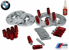 Complete BMW 20 MM Wheel Spacers & 12x1.5 Stud Conversion W/ RED Racing Lug Nuts