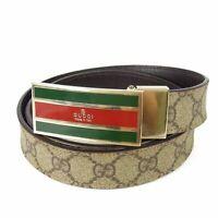 Auth GUCCI Web GG Logos PVC Leather Belt Sz 80/32 Italy F/S 13438bkac