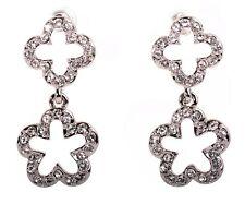 Pierced Earrings Rhodium Authentic 7292a Swarovski Elements Crystal Plum Blossom