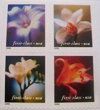 4 Flowers First-Class Block of 4 MNH on Original Backing Scott's 3454 to 3457