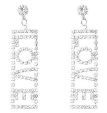Long Drop Diamante Crystal Rhinestone Silver Love Earrings