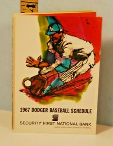 1967 Los Angeles Dodgers Baseball Schedule First National Bank #AE