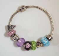"""Chamilia CHAM Sterling Silver Charm Bracelet with 8 Slider Charms 7 1/2"""" Long"""