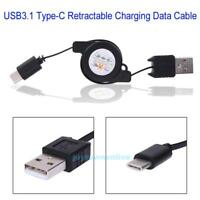 Retractable Cable Charger Charging Type-C USB-C 3.1 Cabel For Huawei Samsung