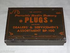 VINTAGE JFD PORTABLE RADIO BATTERY PLUGS DEALERS & SERVICEMENS ASSRT  METAL BOX