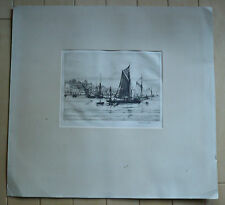 Listed English England UK etcher ROBERT H. SMITH, vintage etching boats harbor