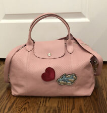 LONGCHAMP Le Pliage Cuir Pins rare pink leather tote bag heart airplane FRANCE