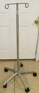 Vintage Adjustable Rolling IV Pole Stand Temco Medical Halloween Prop Horror