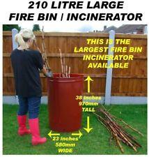 More details for 210 litre large garden burner/incinerator/bonfire bin for wood/rubbish/leaves