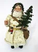 Santa Claus Cream Gold Robe Blue Eyes Black Boots Standing Tree Bag Nutcracker