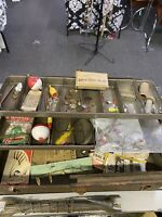 Antique Metal Fishing Tackle Box Full of Vintage Tackle A