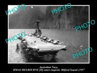 OLD 6 X 4 HISTORIC PHOTO OF AUSTRALIAN NAVY SHIP HMAS MELBOURNE c1957 IN NZ