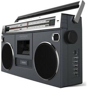 ION ISP1121BK Street Rocker Retro Bluetooth Boombox - Cassette Player (Black)