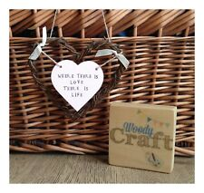 Hand Painted Wooden Where There is Love There is Life Hanging Heart Decoration
