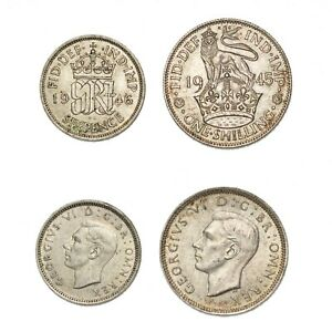 GRAN BRETAGNA Lotto 2 monete in argento Six Pence 1946 Shilling 1945 Ottime