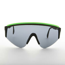 Large Sports Wrap Cycling Sunglasses Made in France1980s Green Stripe - Marcel