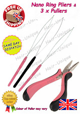 """Professional Nano Ring Hair Extensions Pliers 5"""" & 3 x Puller Uk Stock Free Post"""
