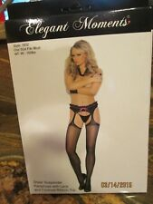 1 Elegant moments sheer suspender pantyhose w/lace and contrast ribbon top black