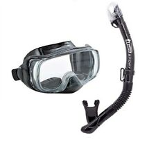 TUSA Sport Adult Imprex 3D Dry Mask and Snorkel Combo Fun Easy Black/Black NEW