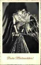 Gruss Festkarte WEIHNACHTEN ~1940/50 Kerze mit Engel, Christmas Angel Postcard