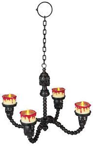 Chandelier Lighted Black Skull Candleholders Halloween Lights Decoration
