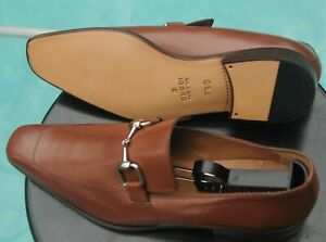 GUCCI Man's Vitello Aniklux   Milk chocol brown Loafers shoes US Size 10 D