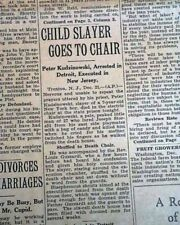 PETER KUDZINOWSKI Serial Child Killer Electric Chair EXECUTION 1929 Newspaper