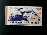 Northwest Orient Airlines Passenger Ticket & Baggage Check 1950