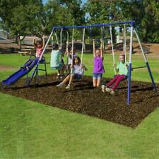 Metal Swing Set Playground Play Playset Outdoor Wave Slide Glider