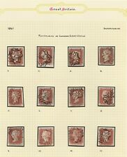 1841 Penny Red SG8 Set of 12 Numbers in Maltese Cross Cancels