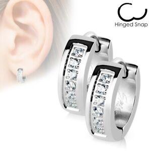 316L Stainless Steel 0.12 Carat CZ Huggie Cuff Earrings (Men or Women)