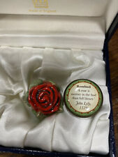 Halcyon Days Bonbonnière Red Rosebud Enamel Box