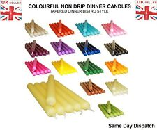 PACK OF COLOURFUL NON DRIP DINNER CANDLES FOR LESS PRICE - MANY COLOURS UKSeller